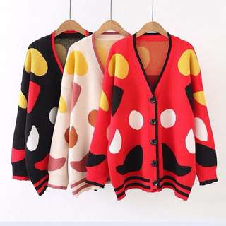 Plus Size 2018 spring Korean long dot polka-dot knit sweater cardigan