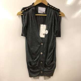 Nearly New Sacai gray and black vest cardigan size 1
