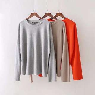🔥Europe and US New Loose Neck Long Sleeve Soft Tactile Knit Top