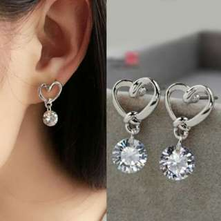 Anting Cantik - Love Hollow Zircon Earrings