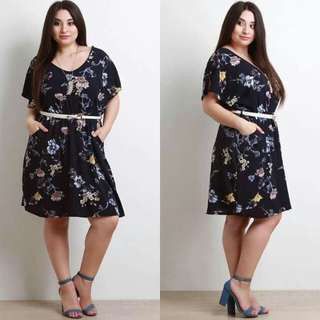 Floral Plus Size Dress W/Belt