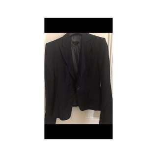 Cue suit jacket and skirt, size 8, black with fine pinstripe