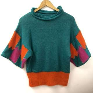 TC green knitted sweater top size 2