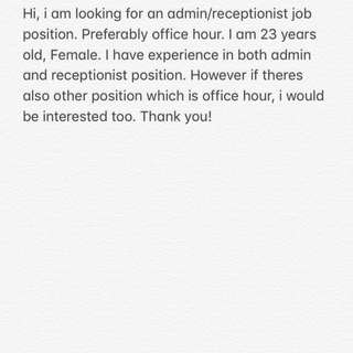 Looking for office hour job
