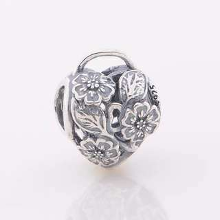 Code SS32 - Floral Padlock Lock 100% 925 Sterling Silver Charm, Chain Is Not Included, Compatible With Pandora Pandora