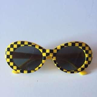 Festival clout checkered Kurt cobain glasses