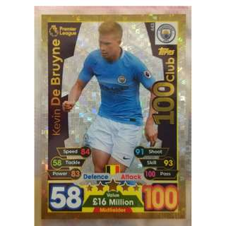 (BW) Match Attax 17/18 Kevin De Bruyne 100 Club Card