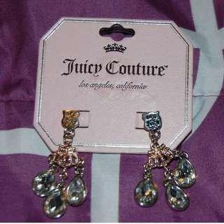 JUICY COUTURE Silver & Gold Rhinestone Chandelier Earrings