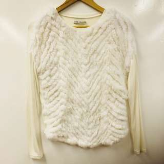 Alice + olivia white with fur top size S