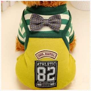 DP雜貨鋪 寵物衣服 秋冬新款加厚領結條紋四腳衣 貓狗衣服 馬爾濟斯/貴賓/博美/吉娃娃
