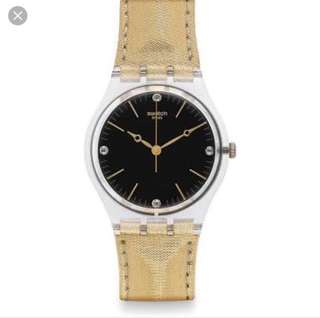 SWATCH GOLD LEATHER WATCH