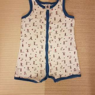 Petit Bateau Sleeveless Romper/ Coverall with Boy Print