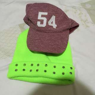 F21 Studded Beanie and Cotton On Cap Sold as Pair