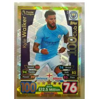(BW) Match Attax 17/18 Kyle Walker 100 Club Card