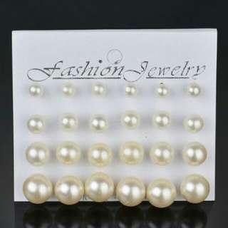 Anting Cantik - Minimalist Pearl Earrings 12 Pairs Beige Pearl