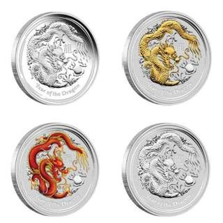 2012 Australia Perth Mint Year of Dragon Silver Coins Typeset