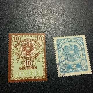舊 奧地利郵票x2