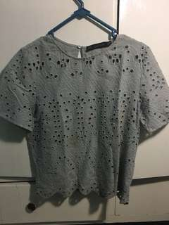 Zara Grey Cotton Blouse