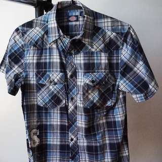 Blue Plaid Short Sleeved Polo