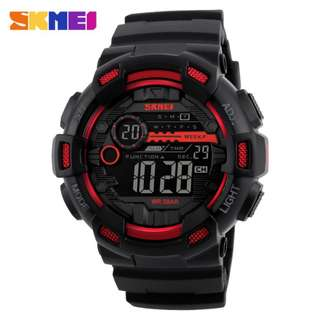 SKMEI 1243 RED WITH RUBBER STRAP WATCH FOR MEN - COD FREE SHIPPING