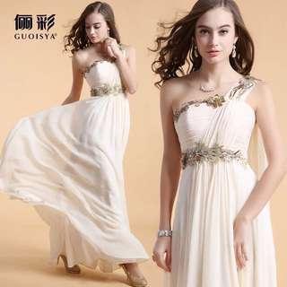 希腊女神单肩带飘结婚婚纱礼服长款新娘敬酒服伴娘服