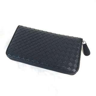 長銀包 Woven Leather Wallet 黑色 Lambskin Leather
