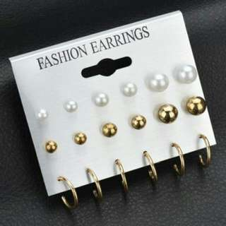 Anting Cantik - Pearl Earrings9 Pairs Gold+White