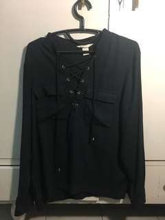 H&M Front Lace Navy Shirt