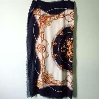 Topshop navy/ gold printed scarf