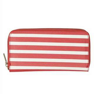 BNWT Cotton On Red Striped Long Wallet Zipper Around Wallet