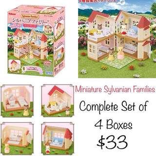 BNIB Kabaya Sylvanian Families Mini Series Complete 4 Set Box