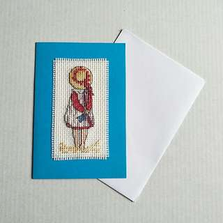 Completed Handmade Cross Stitch Card - AOY All Our Yesterdays