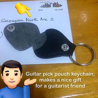 Guitar pick keychain (pouch fob faux leather) [can be personalised valentine day children teacher birthday graduation Christmas Raya guitarist gifts uncle.anthony uncle anthony uac]  FOR MORE PHOTOS & DETAILS, GO HERE: 👉 http://carousell.com/p/124696156