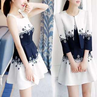 Two pieces set white floral sleeveless contrast coloured dress with  matching outwear
