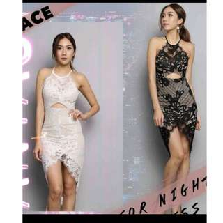 Lace dress in white BN