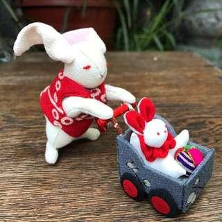 日本直送 手作 傳統布藝兔 公仔 禮物