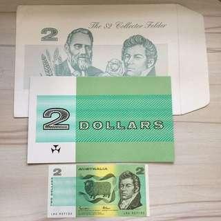 Australia $2 Final Print UNC banknote in folder