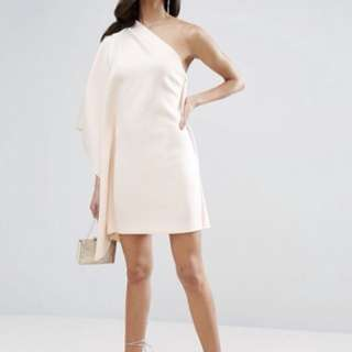 ASOS one shoulder cape mini scuba dress