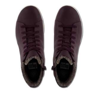 FitFlop F-SPORTY™  Leather Sneakerboots With Shearling | Plum | US Women's Size 5,6,7,7.5,8,8.5,9,10 | Sneaker Boots Shoe