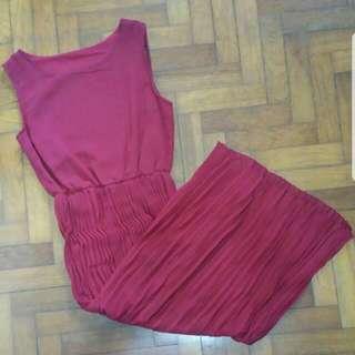 Red / Maroon Pleated Dress
