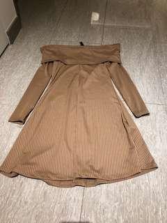 Nude long sleeve off shoulder dress