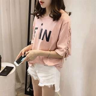 Korean women pink Cotton shirt