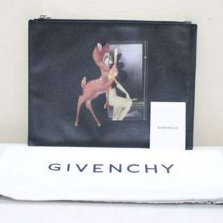 Authentic Givenchy Bambi Print Flat Zip Pouch / Clutch