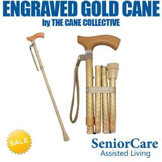 Engraved Gold Cane by The Cane Collective