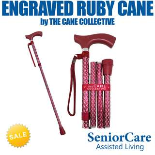 Engraved Ruby Cane by The Cane Collective