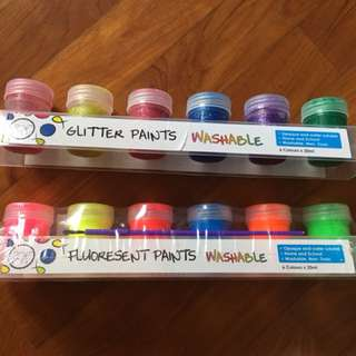 Fluoresent and glitter washable paint