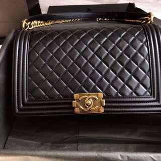 Chanel Leboy 28cm 黑色 古铜