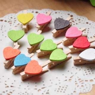 (Preorder) 10pcs Heart shaped wooden peg in wooden coloured heart