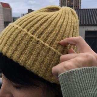 薑黃混色針織毛帽