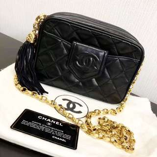 Chanel Vintage 黑色羊皮流蘇 Camera Bag